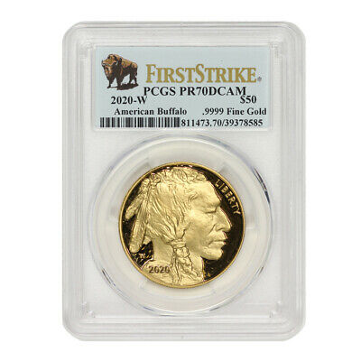 $2995 • Buy 2020-W $50 Gold Buffalo PCGS PR70DCAM First Strike Proof Coin Bison Label W/OGP