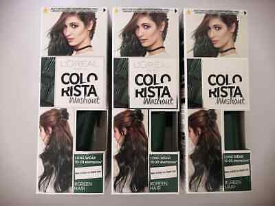 3 X L'Oreal Colorista Washout Long Wear Semi-Permanent Hair Dye 80ml Each- Green • 12.99£