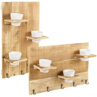 Wooden Wall Decorations With Flower Pot Plant Holder Indoor Outdoor Basket Hooks • 13.99£