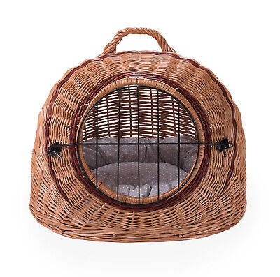 Wicker Pet Dog Cat Animal Basket Portable Transporter Carrier GB FREE SHIPPING • 45.90£