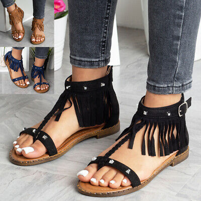 £11.99 • Buy Womens Sandals Toe Toe Ladies Summer Flats Tassle Comfy Casual Strap Shoes Size