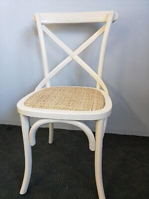 AU99 • Buy New French Provincial Industrial Dining Cross Back Chairs - Creamy White