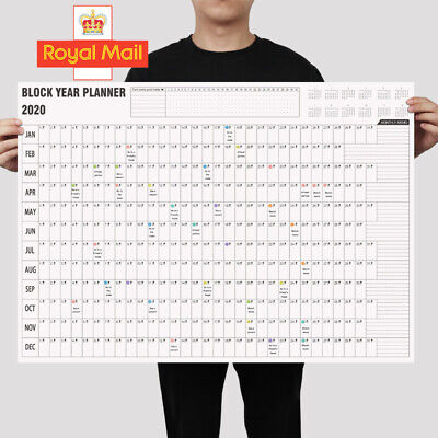 2020 A2 Year Wall Planner Yearly Annual Calendar Chart Large Stickers Schedule B • 2.39£