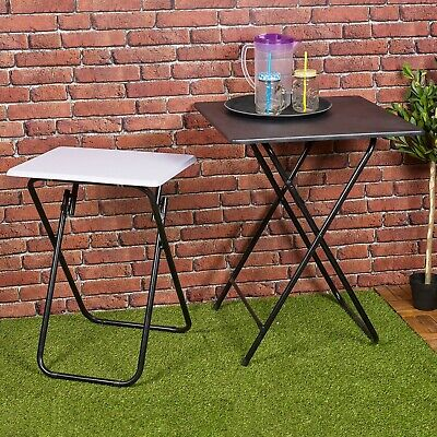 Folding Side Table Patio Indoor Outdoor Furniture Coffee Drink Summer Metal Legs • 23.99£