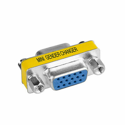 VGA Cable Coupler Connector Plug 15 Pin Female Port Adapter D-Sub Cord Extender • 2.36£