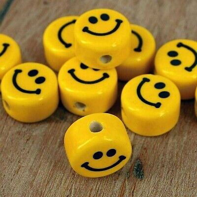 Beads, Emoji Smile Faces,  Clay Polymer , Jewellery Making Pk 10 G18 • 2.99£
