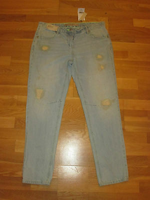 Next Slouch Boyfit Ripped Crop Light Blue Jeans Size 10 Long Brand New With Tags • 15.49£