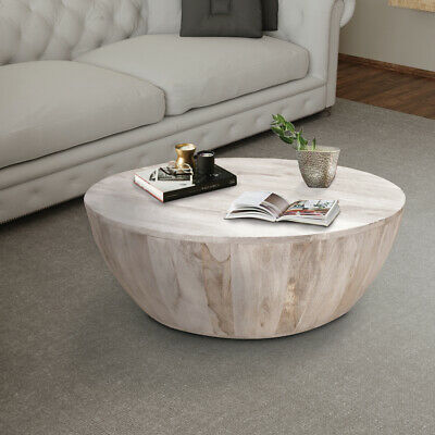 $519.40 • Buy Distressed Mango Wood Coffee Table In Round Shape, Washed Light Brown
