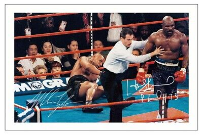 £5.49 • Buy MIKE TYSON & EVANDER HOLYFIELD Signed Autograph PHOTO Signature Print BOXING