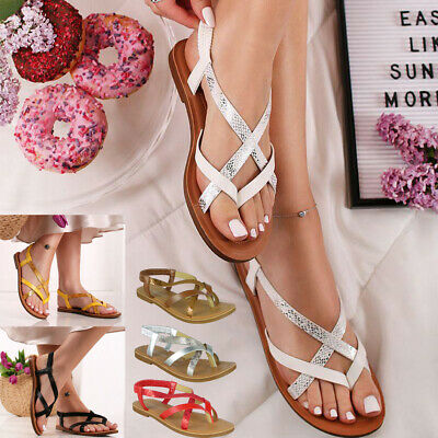 £12.99 • Buy Womens Sandals Toe Post Ladies Summer Flat Strappy Gladiators Comfy Shoes Size