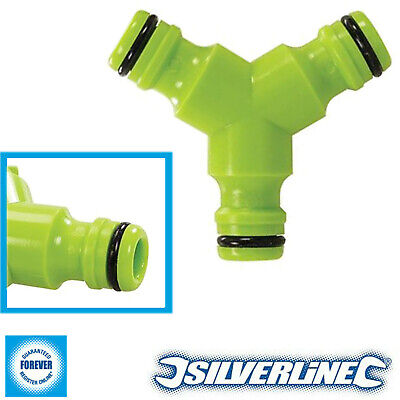 Silverline Y Garden Hose Connector 1/2  Quick Fit Connection Frost Resistant • 1.99£