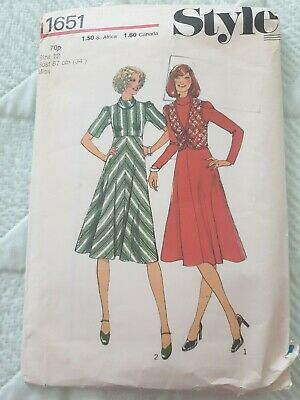 Style 1651 Sewing Pattern Ladies Dress Waistcoat Size 12 34  Bust Vintage  • 3.49£