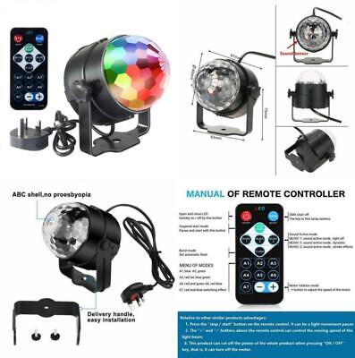 £14.99 • Buy Disco 5W LED RGB Sound Actived Crystal Rotating Glitter Ball Lights Effect