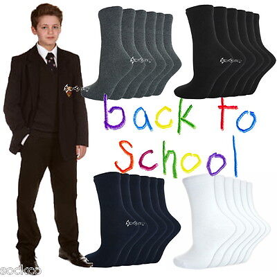 6 Or 12 Pairs Boys Girls Ankle Socks School Uniform Shoe Sizes 6-8 9-12 12-3 4-5 • 6.99£