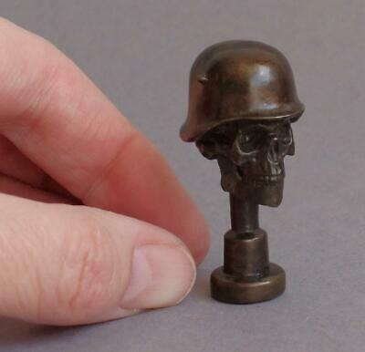 WW1 GERMAN Stahlhelm Helmet SKULL Death Head PIPE TAMPER Trench Art BRONZE Brass • 124£