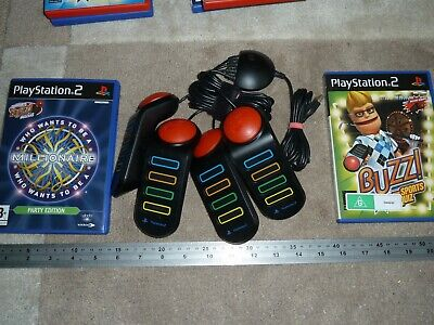 Buzz Sport Quiz Who Wants To Millionaire Official Wired Buzzer Playstation 2 Ps2 • 21.99£