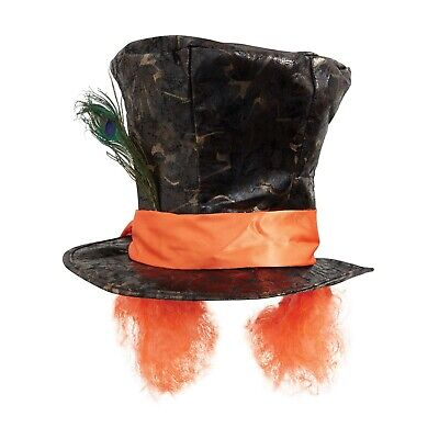 Mad Hatter Alice In Wonderland Hat With Feather Orange Hair Fancy Dress Cosplay • 9.99£