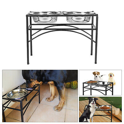 Double Elevated Pet Feeding Stand Bowl Stand Dog Puppy Food Water Rack Tray • 16.99£