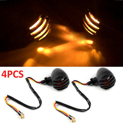 4x Motorcycle Retro Turn Signal Indicator Metal Bulb Light Rear Front Lamp • 11.59£