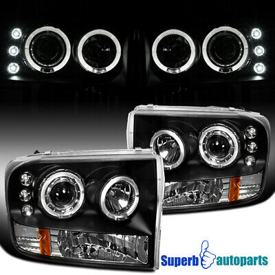 AU178.25 • Buy For 1999-2004 Ford F250 F350 F450 LED Halo Projector Headlights Black