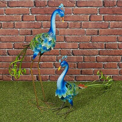 £18.99 • Buy Colourful Peacock Metal Birds Garden Ornament Sculpture Friendly Features Decor
