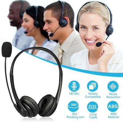 USB PC Computer Headset Wired Headphones Noise Reduction Mic For Skype Phones • 13.81£
