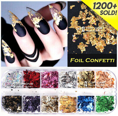 AU6.45 • Buy 12 Color Foil Confetti Flakes Thin Sheets Nail Art Mixed Glitter Decoration 3155