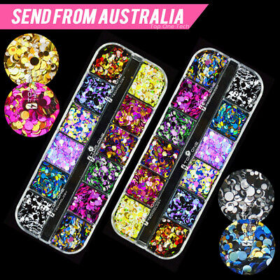 AU6.80 • Buy 12 Color Mixed Round Confetti Sequins Nail Art Holographic Dots Flake Decal 3153