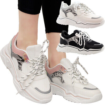 Ladies Lace Up Running Trainers Women Chunky Retro Punk Sneaker Sport Shoes Size • 11.95£
