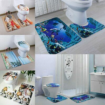 3Pcs 4 Types Set Bathroom Non-Slip Pedestal Rug + Lid Toilet Cover + Bath Mat • 10.31£