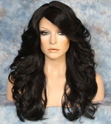 $68.35 • Buy Human Hair Blend Full Wig Black Wavy Bangs Heat OK Feathered Sides WEPX 1