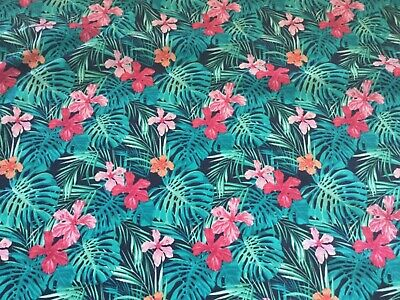Hawaiian Hibiscus Tropical Floral Leaf Fabric  100% Cotton Material    Oeko Tex • 6£