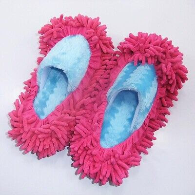 1Pair Pink Shoes Dust Slippers Remover Sock Mop Cleaning Floor Microfibre Duster • 2.20£