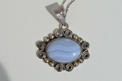 $19.99 • Buy  Sterling Silver Oval Lavender Quartz Pendant Necklace Silver Chain Mexico C11