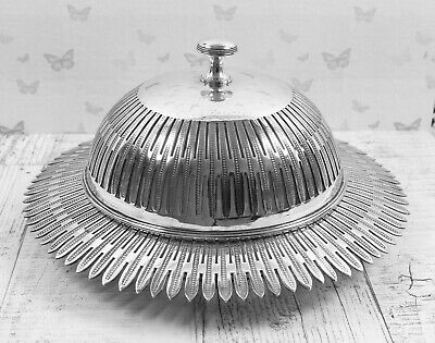 Beautiful Antique Domed Top Pierced Silver Plated Caviar / Butter Preserve Dish • 68.99£