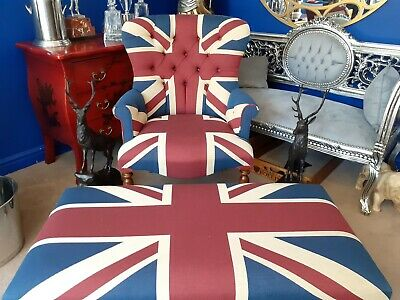 £800 • Buy Union Jack Arm Chair And Massive Foot Stool