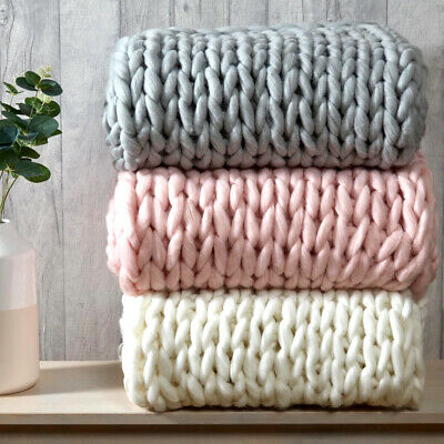 £32.95 • Buy Super Chunky Cable Knit Throw Hand Knitted Blanket Faux Wool Throw-over 120x150