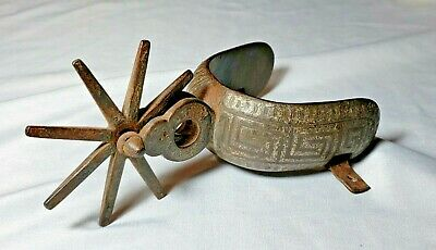 $19.99 • Buy Single Antique Mexican Cowboy Charo Spur Hand Hammered Iron/Steel Silver Overlay