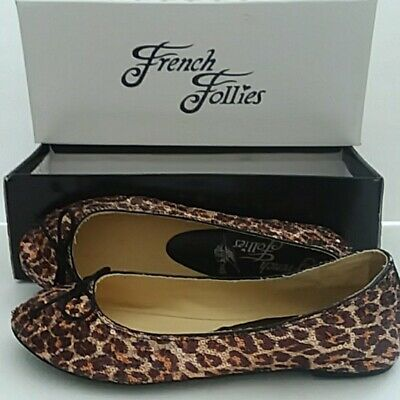 $18.99 • Buy Bronze~ French Follies~ Edie~ballet Flats Womens Shoes Sequin Leopard