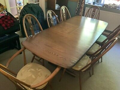 Ercol Modern Windsor Extending Dining Table And 10 Swan Back Chairs + 2 Cabinets • 1,950£