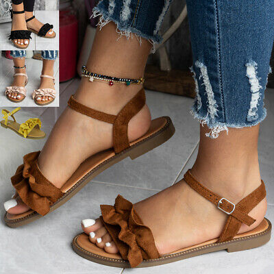Womens Sandals Open Toe Ladies Summer Flat Buckle New Comfy Casual Shoes Size • 11.99£