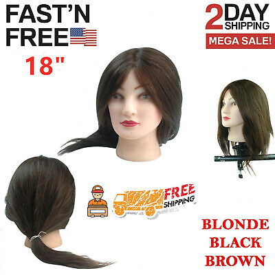 $19.86 • Buy Cosmetology Mannequin Head 18  Human Hair Hairdressing Training Model Doll USA