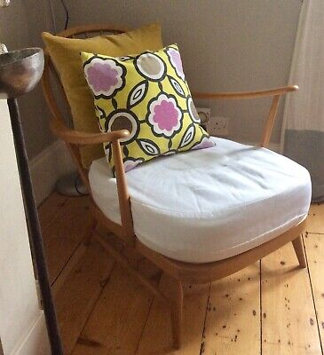 Vintage Ercol Blonde Windsor Easy Armchair With Made To Measure Seat Cushion • 445£