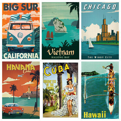 £4.50 • Buy VINTAGE TRAVEL POSTERS City Country Wall Art Retro Print/poster Holiday
