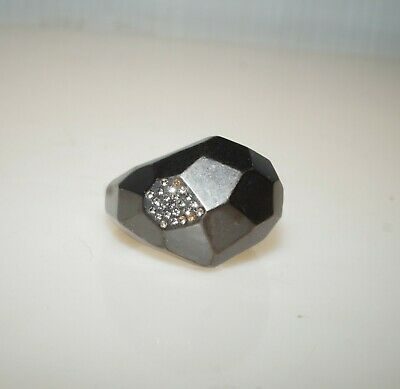 $ CDN15.05 • Buy Lia Sophia Kiam Family Hematite Finish & Cut Crystals Cocktail Ring Size 11