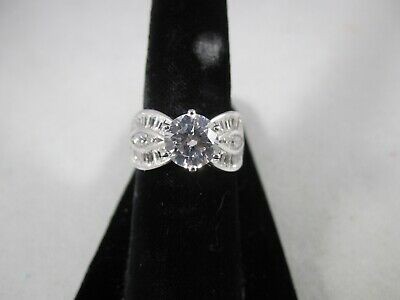 $19.99 • Buy QVC Diamonique New Sterling Round Solitaire With Side Baguettes Ring Sizes 5,6,7