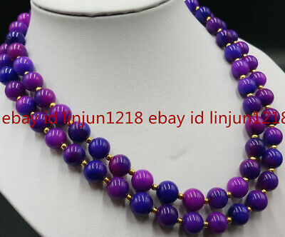 $9.99 • Buy 2 Row 8mm Purple Sugilite Round Gnetsone Bead Jewellery Necklace 17-18 Inch