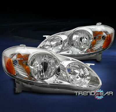 $92.95 • Buy For 03-08 Toyota Corolla Replacement Chrome Headlight Headlamp Lamp Assembly Set