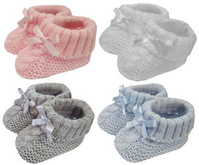 Baby BOOTIES Knitted Shoes Socks Spanish Style BOW Newborn  • 2.89£