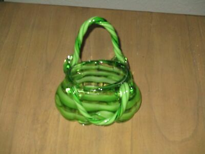 $24.99 • Buy Handcrafted Purse Angelina Block Crystal Art Glass Vase-green Striped Euc